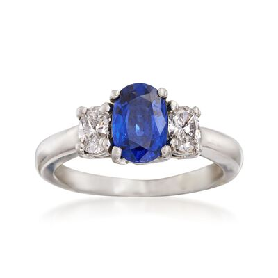 C. 2000 Vintage 1.25 Carat Sapphire and .40 ct. t.w. Diamond Ring in Platinum