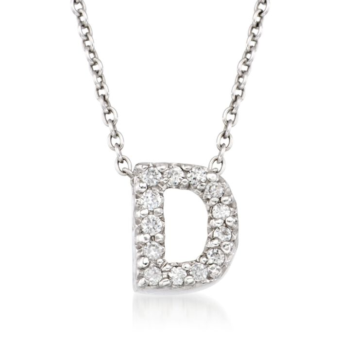 "Roberto Coin Tiny Treasures Diamond D Necklace in 18-Karat White Gold. 16"", , default"