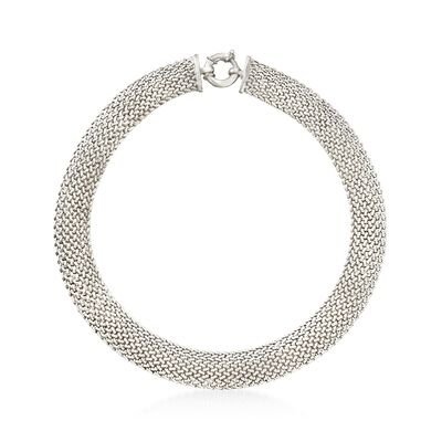 Italian Sterling Silver Riso Collar Necklace, , default