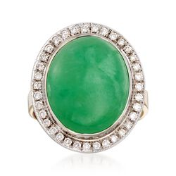 C. 1990 Vintage Jade and .45 ct. t.w. Diamond Ring in 18kt Two-Tone Gold, , default