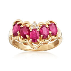 C. 1990 Vintage 1.5 ct. t.w. Ruby Ring With Diamond Accents in 14kt Yellow Gold, , default