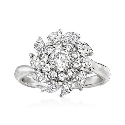 C. 1990 Vintage 1.27 ct. t.w. Diamond Swirl Cluster Ring in Platinum