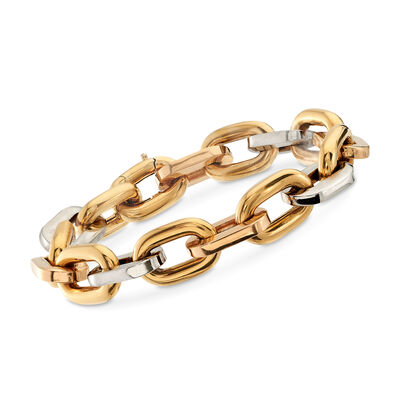 C. 1990 Vintage 18kt Tri-Colored Gold Cable-Link Bracelet, , default