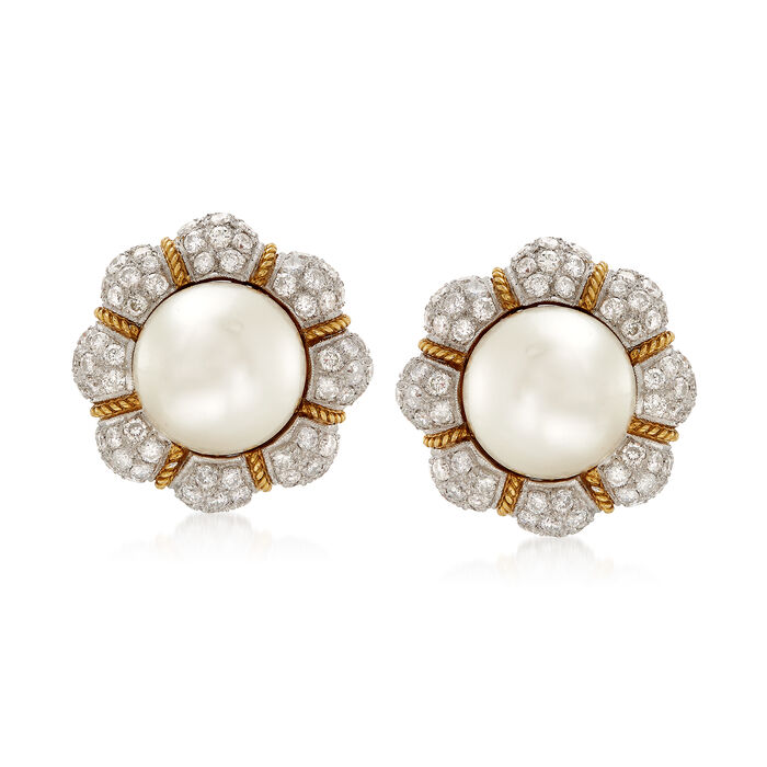 C. 1980 Vintage 14mm Cultured South Sea Pearl and 6.00 ct. t.w. Diamond Flower Clip-On Earrings in 18kt Yellow Gold