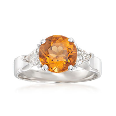 C. 1990 Vintage 1.60 Carat Citrine Ring with .50 ct. t.w. Diamonds in 14kt White Gold