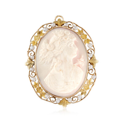 C. 1950 Vintage Cultured Pearl and Agate Cameo Pin Pendant in 10kt Yellow Gold, , default