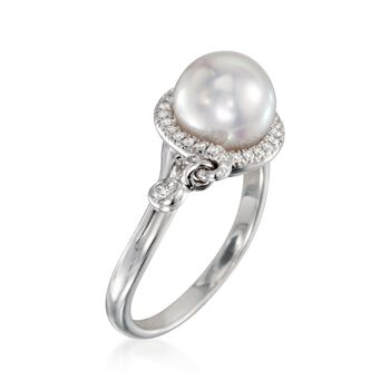 Mikimoto Akoya Pearl and Diamond Halo Ring in 18-Karat White Gold. Size 7