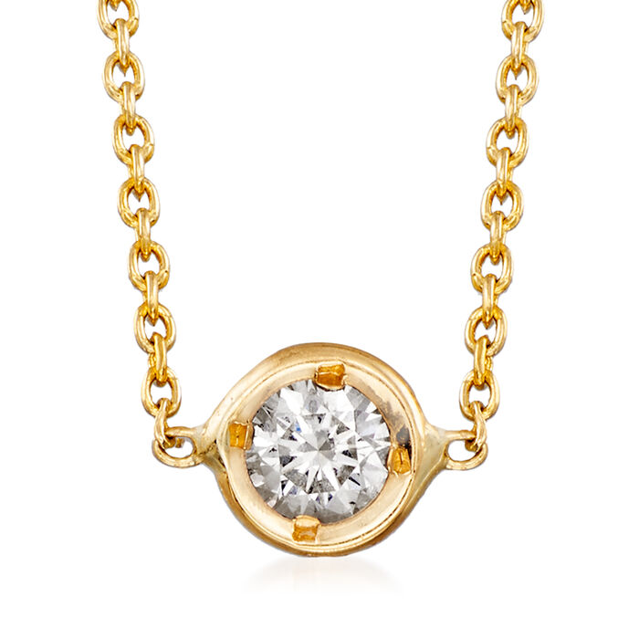 Roberto Coin .10 Carat Diamond Solitaire Necklace in 18kt Yellow Gold