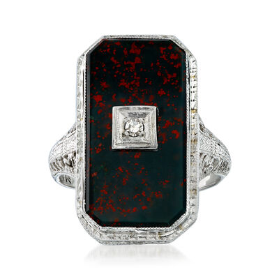 C. 1950 Vintage Bloodstone Ring with Diamond Accent in 14kt White Gold