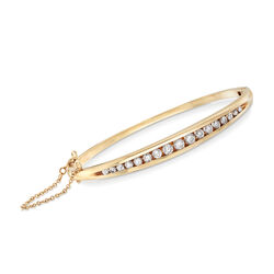 C. 1990 Vintage 1.50 ct. t.w. Diamond Bangle Bracelet in 14kt Yellow Gold, , default