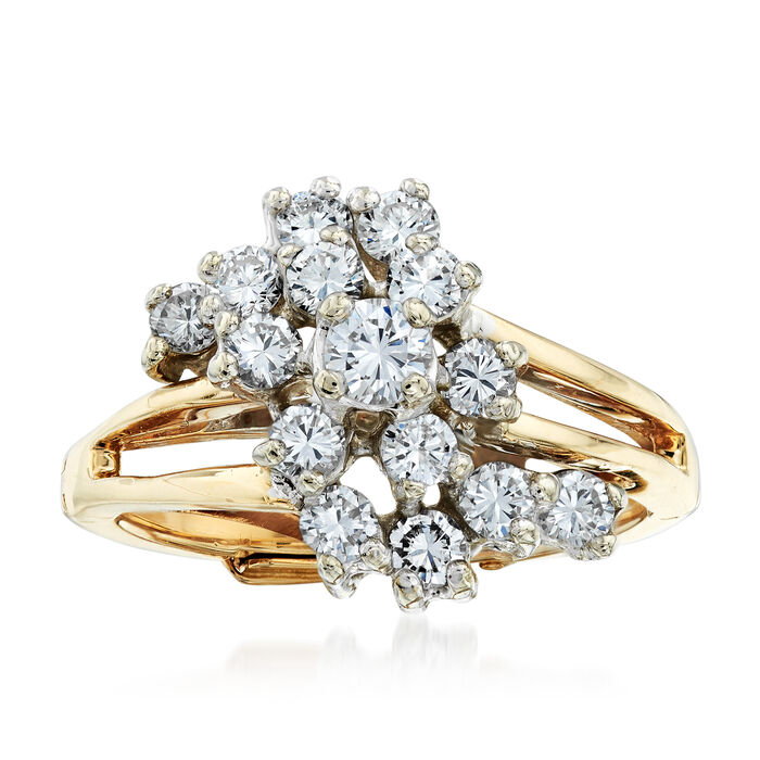 C. 1980 Vintage 1.00 ct. t.w. Diamond Cluster Ring in 14kt Yellow Gold. Size 6.25, , default