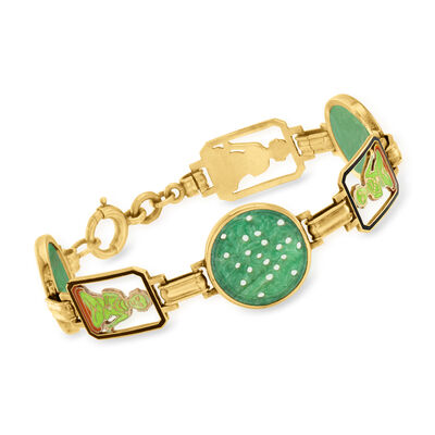 C. 1940 Vintage Jade and Multicolored Enamel  Buddha Bracelet in 14kt Yellow Gold