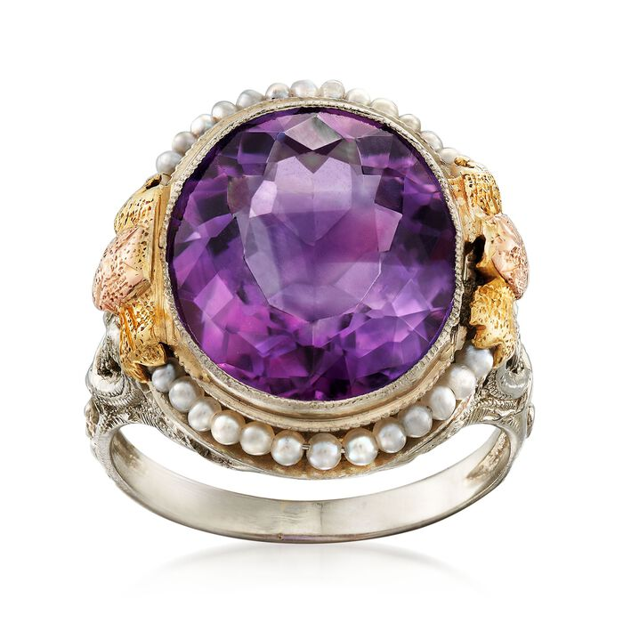 C. 1950 Vintage 6.00 Carat Amethyst and Cultured Seed Pearl Floral Ring in 18kt Tri-Colored Gold