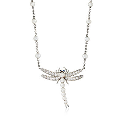 C. 2000 Vintage Tiffany Jewelry 2.5-3.5mm Cultured Pearl and .55 ct. t.w. Diamond Dragonfly Necklace in Platinum, , default