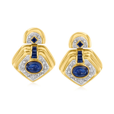C. 1980 Vintage 5.00 ct. t.w. Sapphire and .75 ct. t.w. Diamond Earrings in 18kt Yellow Gold