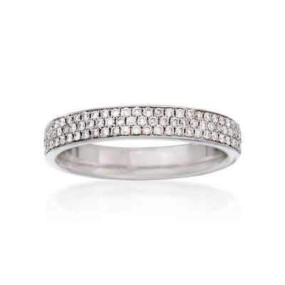 Henri Daussi .40 ct. t.w. Pave Diamond Three-Row Wedding Ring in 18kt White Gold
