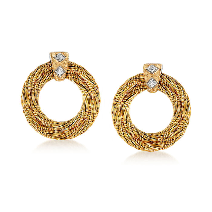 "ALOR ""Classique"" Yellow Stainless Steel Cable Earrings with Diamond Accents and 18kt Yellow Gold, , default"