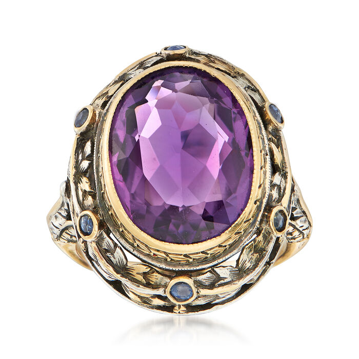 C. 1950 Vintage 6.70 Carat Amethyst and Sapphire Floral Ring in 14kt Yellow Gold and Sterling Silver