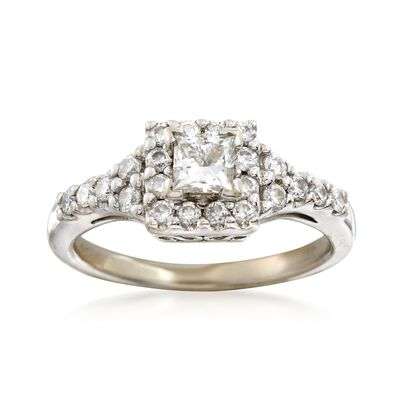 C. 1990 Vintage .75 ct. t.w. Princess-Cut and Round Diamond Ring in 14kt White Gold, , default