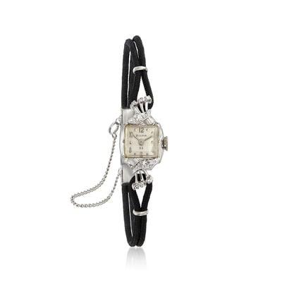 C. 1950 Vintage Bulova Women's 14mm Mechanical .18 ct. t.w. Diamond Watch in 14kt White Gold, , default