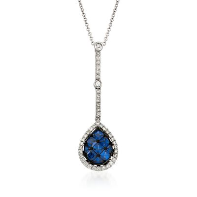 Simon G. .80 ct. t.w. Sapphire and .27 ct. t.w. Diamond Pendant Necklace in 18kt White Gold, , default