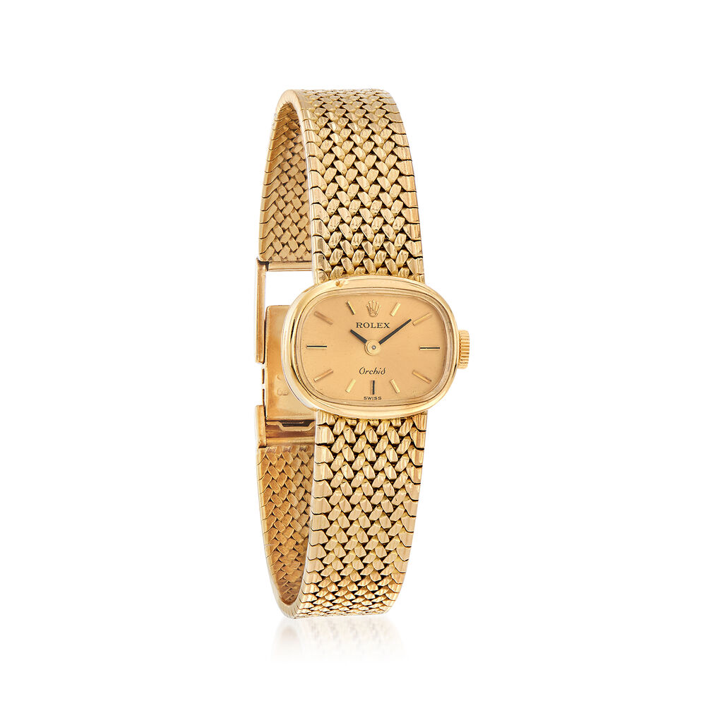 Certified Preowned Rolex Orchid Women's 18mm Watch in 18kt Yellow Gold   Size 6 5