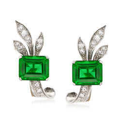 C. 1950 Vintage .50 ct. t.w. Diamond and Green Glass Non-Pierced Earrings in Platinum, , default