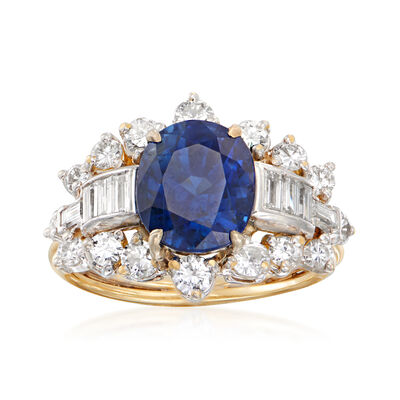 C. 1990 Vintage 3.35 Carat Certified Sapphire Ring with 1.20 ct. t.w. Diamonds in 18kt Yellow Gold