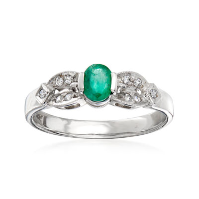 C. 1980 Vintage .30 Carat Emerald and .10 ct. t.w. CZ Ring in 18kt White Gold