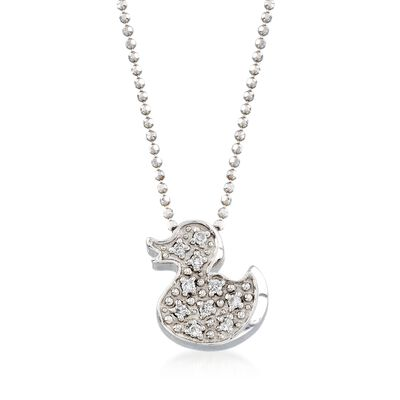 "C. 2000 Vintage Alex Woo ""Baby Girl Ducky"" .10 ct. t.w. Diamond Necklace in 14kt White Gold, , default"