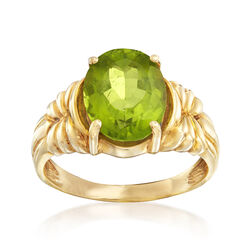 C. 1990 Vintage 3.75 Carat Peridot Ring in 10kt Yellow Gold, , default
