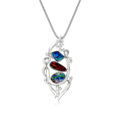 C. 1980 Vintage Black Opal Pendant Necklace with .31 ct. t.w. Diamonds in 18kt White Gold