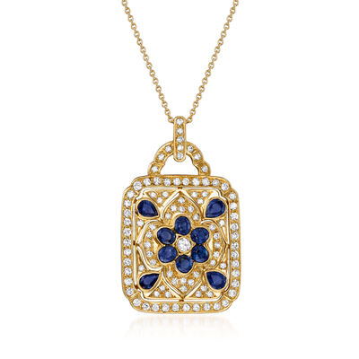 C. 1980 Vintage 1.40 ct. t.w. Diamond and 1.35 ct. t.w. Sapphire Pendant Necklace in 18kt Yellow Gold, , default