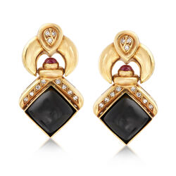 C. 1980 Vintage Black Onyx and .50 ct. t.w. Ruby Doorknocker Clip-On Earrings With Diamonds in 18kt Gold, , default