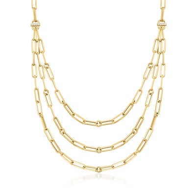 Roberto Coin 18kt Yellow Gold Three-Strand Paper Clip Link Necklace with Diamond Accents