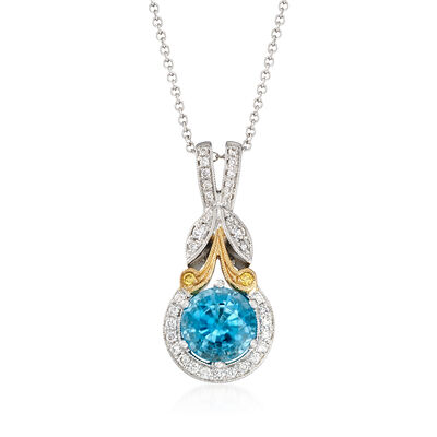 Simon G. 1.90 Carat Blue Zircon and .16 ct. t.w. Diamond Pendant Necklace in 18kt Two-Tone Gold, , default