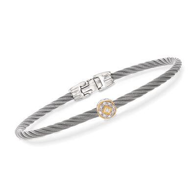 "ALOR ""Shades of Alor"" Gray Carnation Cable Station Bracelet with Diamond Accents in Stainless Steel and 18kt Yellow and White Gold"