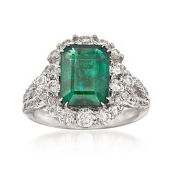 3.43 Carat Emerald and 1.46 ct. t.w. Diamond Ring in 18kt White Gold, , default