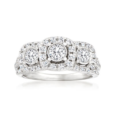 C. 1990 Vintage 1.10 ct. t.w. Diamond Ring in 14kt White Gold