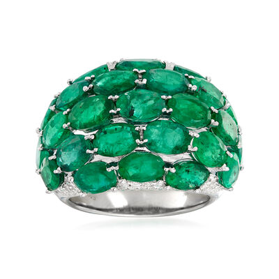 C. 1980 Vintage 11.96 ct. t.w. Emerald and .63 ct. t.w. Diamond Multi-Row Ring in 18kt White Gold, , default