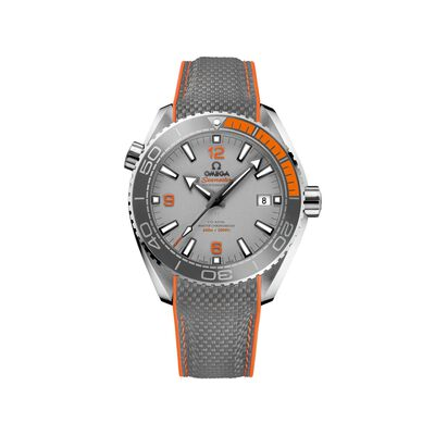 Omega Seamaster Planet Ocean Men's 43.5mm Titanium Watch with Gray and Orange Rubber Strap