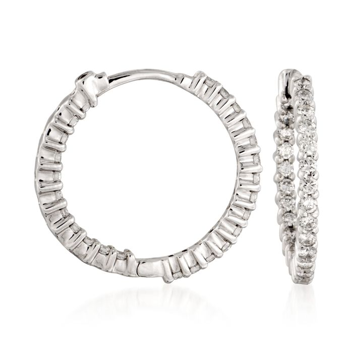 Roberto Coin 1.00 Carat Total Weight Diamond In-And-Out Hoops in 18-Karat White Gold, , default