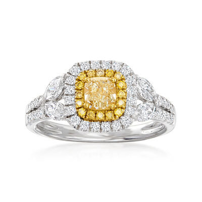 C. 2000 Vintage 1.30 ct. t.w. Yellow and White Diamond Ring in 18kt White Gold