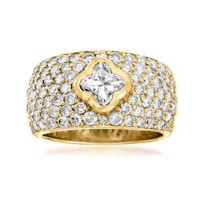 C. 1990 Vintage 2.35 ct. t.w. Diamond Clover Ring in 18kt Yellow Gold