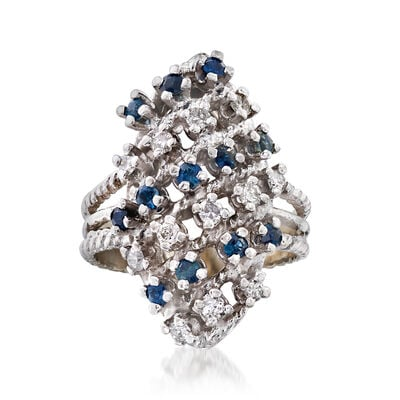 C. 1980 Vintage .60 ct. t.w. Sapphire and .40 ct. t.w. Diamond Multi-Row Ring in 18kt White Gold, , default