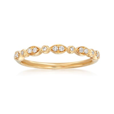 Henri Daussi .11 ct. t.w. Diamond Wedding Ring in 18kt Yellow Gold