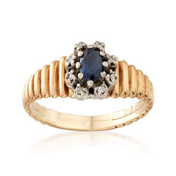 C. 1980 Vintage .25 Carat Sapphire Ring With Diamond Accents in 10kt Yellow Gold, , default