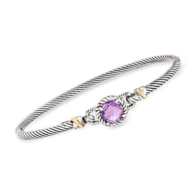 "Phillip Gavriel ""Italian Cable"" 2.00 Carat Amethyst Bracelet in Sterling Silver with 18kt Yellow Gold, , default"