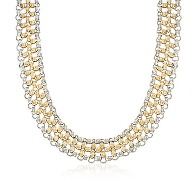 C. 1990 Vintage 18kt Yellow Gold Open Link Bead Mesh-Style Necklace, , default