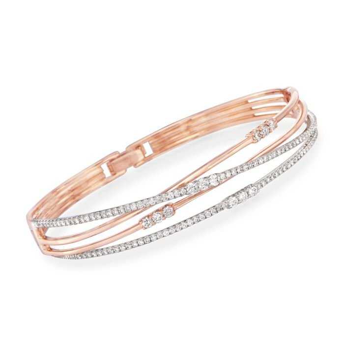 "Simon G. 1.51 Carat Total Weight Diamond Crisscross Bangle in 18-Karat Rose Gold. 7"", , default"